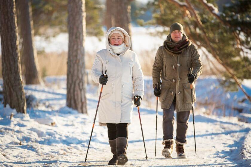 ako sa zohriať v zime nordwalking